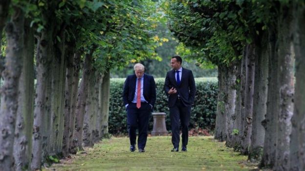 Leo Varadkar and Boris Johnson walking together