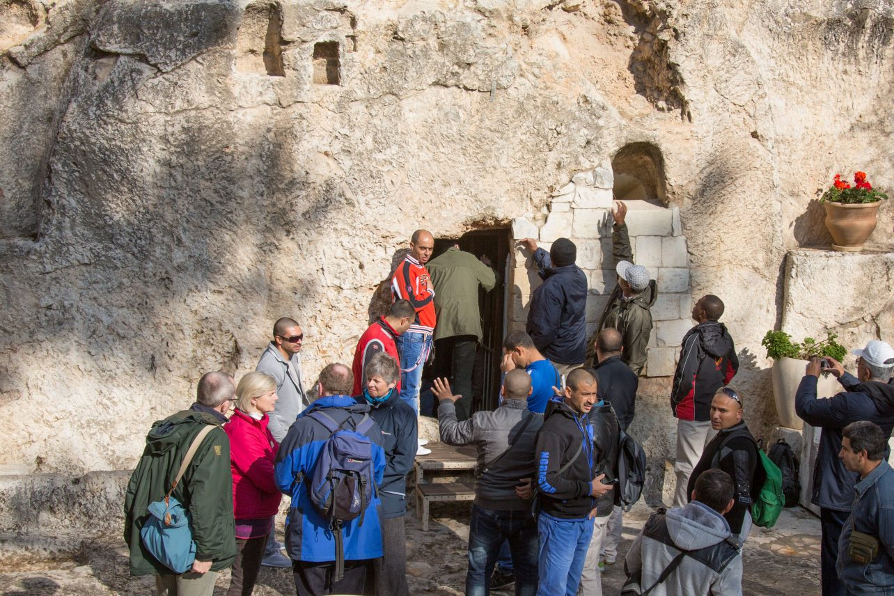 People outside the Garden Tomb in Jerusalem