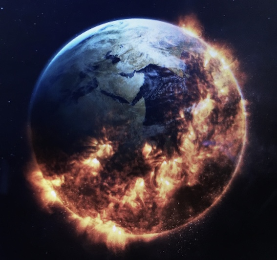 Picture of earth - one side on fire