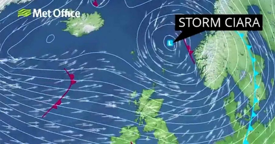 Met office map showing storm Ciara
