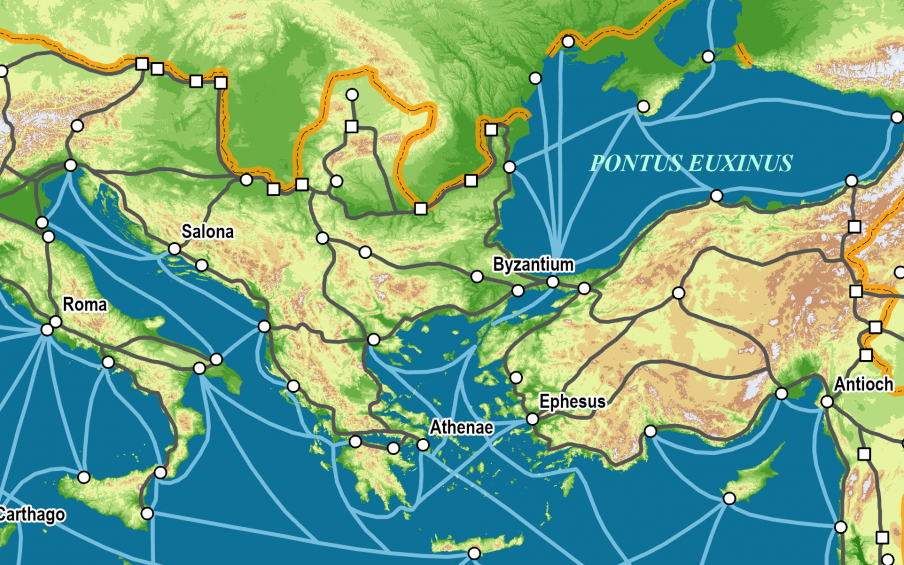 Map of roads across the Roman Empire