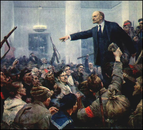 Lenin speaking to a crowd