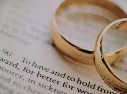 Wedding rings over marriage service